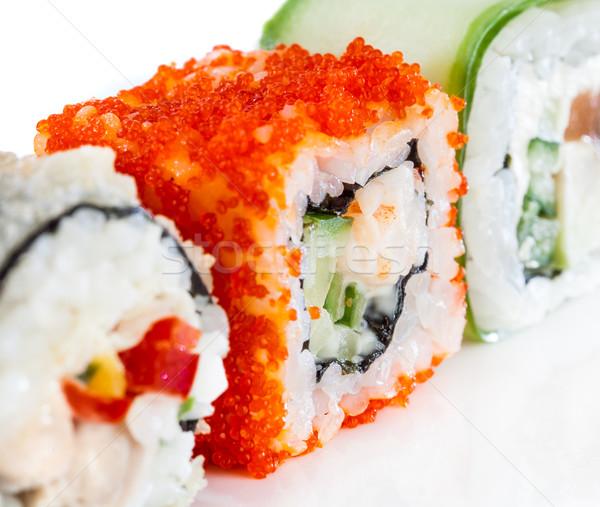 Stok fotoğraf: Sushi · rulo · beyaz · lezzetli · gıda · balık