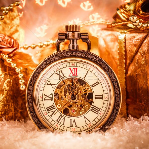 Natal relógio de bolso natureza morta festa neve metal Foto stock © cookelma