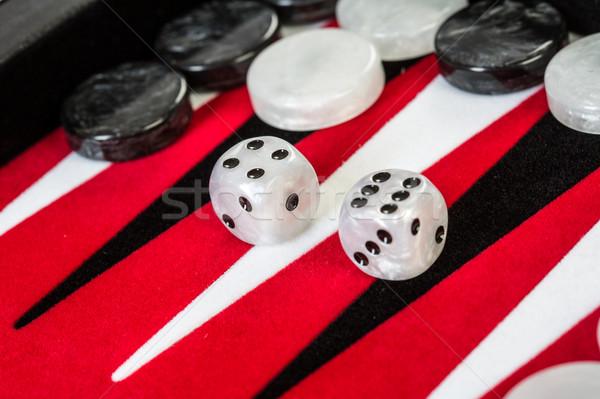 Stok fotoğraf: Kırmızı · tahta · zarlar · eğlence · başarı · oynamak