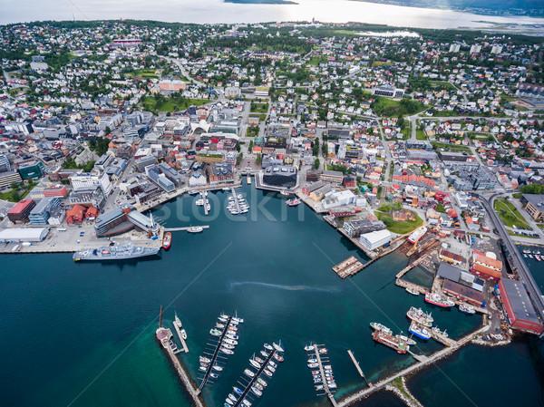 şehir Norveç kuzey fotoğrafçılık dünya Stok fotoğraf © cookelma