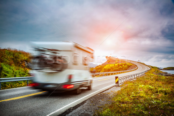 Norway. Caravan car travels on the highway. Stock photo © cookelma