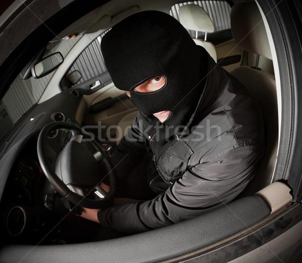 Złodziej złodziej maska samochodu mężczyzn miejskich Zdjęcia stock © cookelma