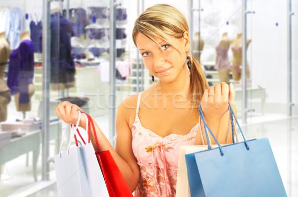 Menina sacos comparação compras venda cara Foto stock © cookelma