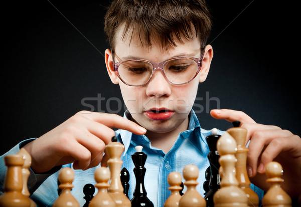 Stockfoto: Nerd · spelen · schaken · zwarte · denken · leren