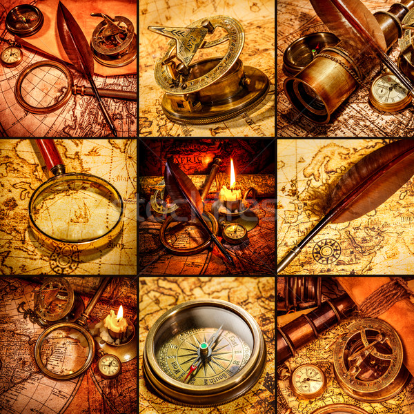Vintage still life anciens carte boussole loupe Photo stock © cookelma