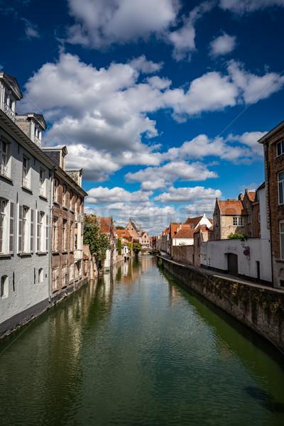 Belçika gün batımı yeşil binalar gündoğumu Stok fotoğraf © cookelma