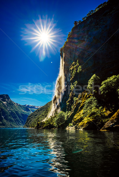 Cascata sette sorelle bella natura Norvegia Foto d'archivio © cookelma