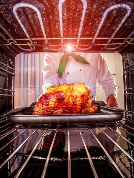 Cocina pollo horno chef pollo asado vista Foto stock © cookelma