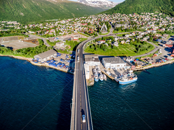 Bridge of city Tromso, Norway Stock photo © cookelma
