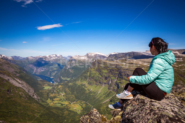 Geiranger fjord, Norway. Tourism vacation and traveling. Stock photo © cookelma