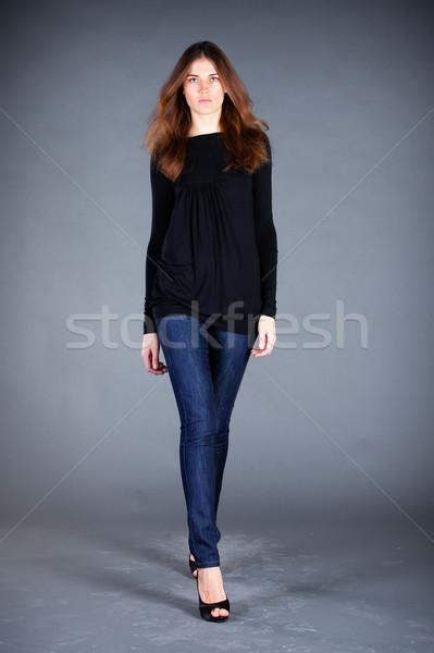 Beautiful girl escuro retrato menina moda feminino Foto stock © cookelma