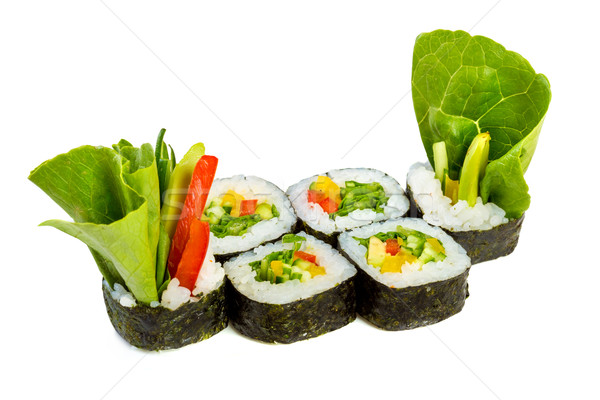 Sushi (Yasai Roll) on a white background Stock photo © cookelma