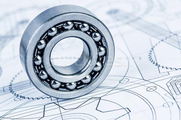Stock photo: Ball bearings on technical drawing