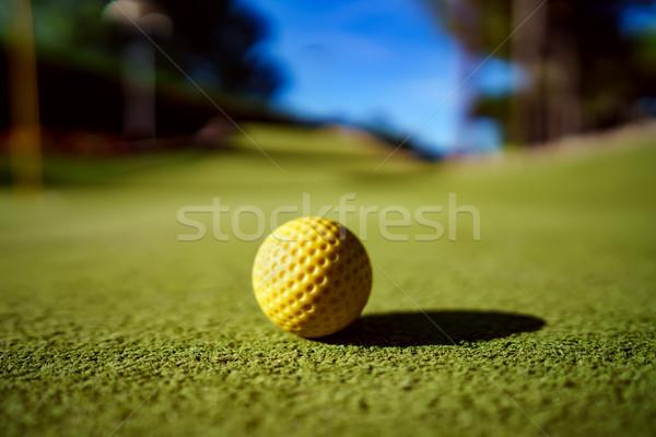 Mini golfe amarelo bola grama verde pôr do sol Foto stock © cookelma