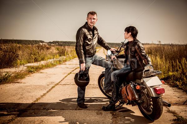 Couple homme femme moto route Photo stock © cookelma