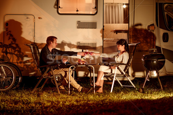 Adult couple clinking glasses of wine. Family vacation travel RV Stock photo © cookelma