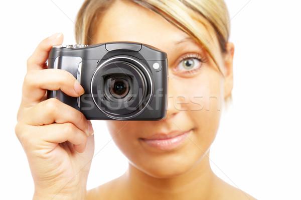 Nina cámara blanco mujer mujeres belleza Foto stock © cookelma