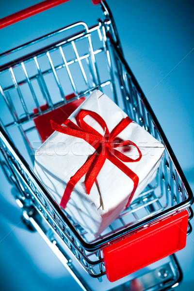 Bevásárlókocsi ajándék üres kék vásárlás vásár Stock fotó © cookelma
