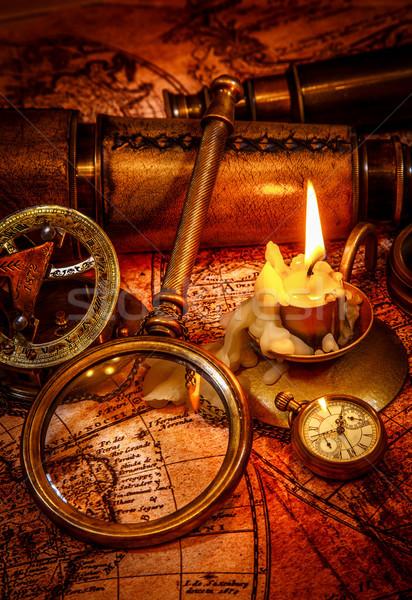 Bağbozumu natürmort eski harita pusula Stok fotoğraf © cookelma