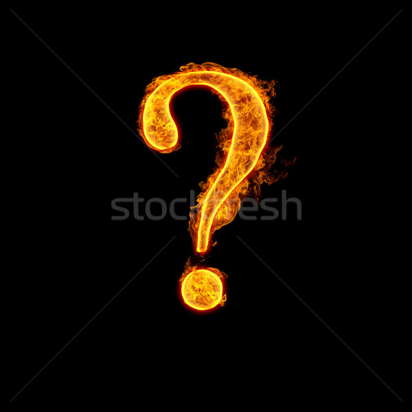 Fire alphabet question mark Stock photo © cookelma