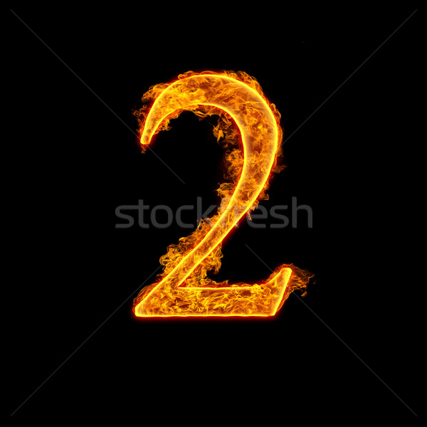 Fire alphabet number 2 two Stock photo © cookelma