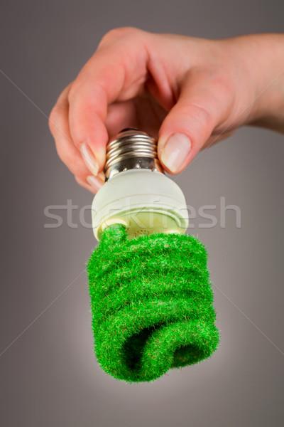 öko villanykörte kéz szürke háttér lámpa Stock fotó © cookelma