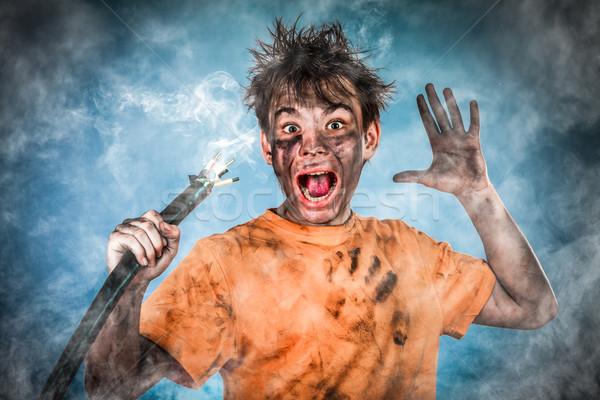 Elektrische schok jongen man haren rook Stockfoto © cookelma