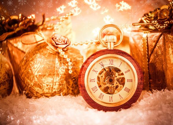 Noel natürmort parti kar Metal Stok fotoğraf © cookelma