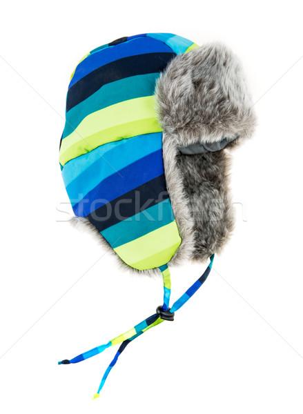 Ciepły futra cap biały moda tle Zdjęcia stock © cookelma