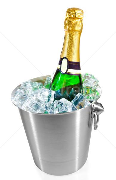 ストックフォト: 孤立した · シャンパン · ボトル · 氷 · バケット · 白