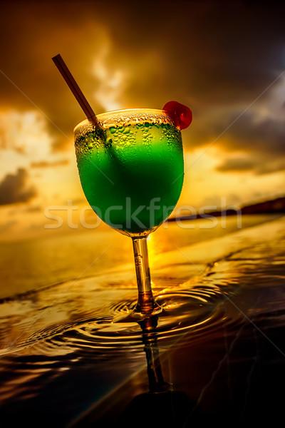 коктейль Бассейн закат природы пейзаж морем Сток-фото © cookelma