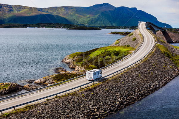 Caravan car RV travels on the highway Atlantic Ocean Road Norway Stock photo © cookelma
