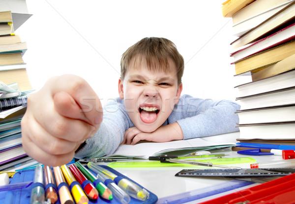 Stockfoto: Jongen · achter · tabel · boeken · kinderen · boek