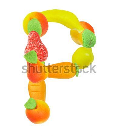 Alfabeto fruto letra i folha assinar carta Foto stock © cookelma