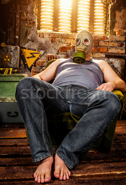 man in a gas mask Stock photo © cookelma