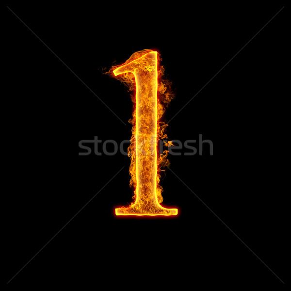 Fire alphabet number 1 one Stock photo © cookelma