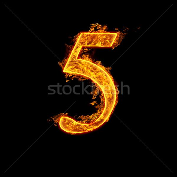 Fire alphabet number 5 five Stock photo © cookelma