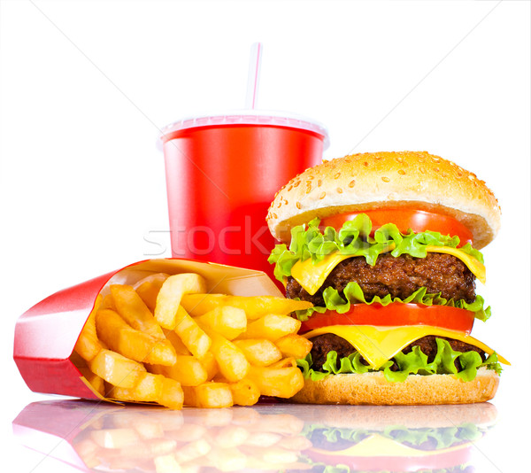 Tasty hamburger and french fries Stock photo © cookelma