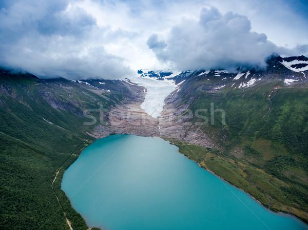 Gletsjer Noorwegen antenne fotografie hemel landschap Stockfoto © cookelma