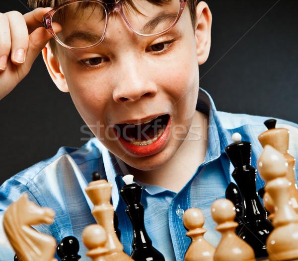 Nerd play chess Stock photo © cookelma