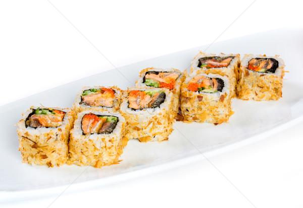 Sushi (Roll Kazuma) on a white background Stock photo © cookelma
