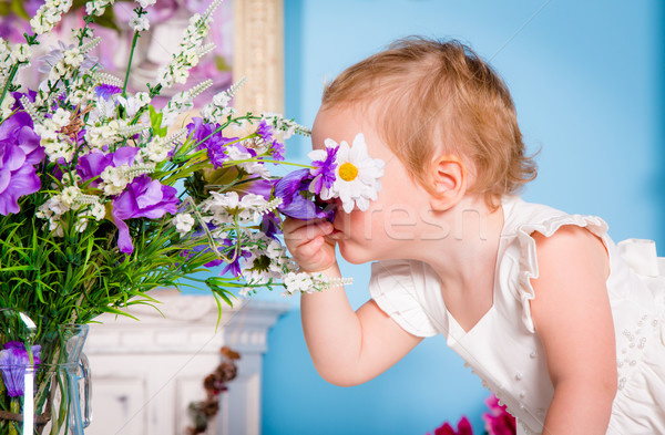 Little girl and flower Stock photo © cookelma