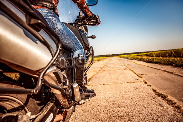 Menina equitação motocicleta fundo ver Foto stock © cookelma
