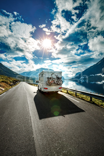 Caravan car travels on the highway. Stock photo © cookelma