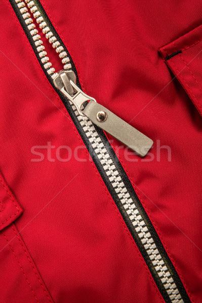 Zíper vermelho projeto tecido cor Foto stock © cookelma