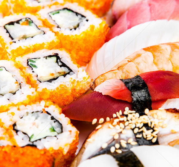 Sushi and Sushi Roll sea food Stock photo © cookelma