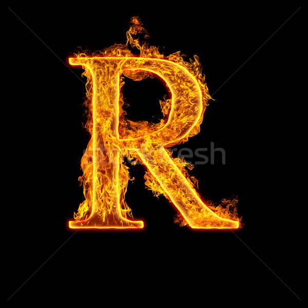 Fire alphabet letter R Stock photo © cookelma