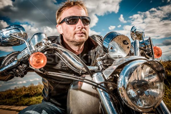 Moto uomo indossare occhiali da sole Foto d'archivio © cookelma
