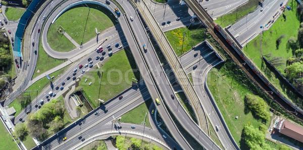 Luftbild Autobahn Kreuzung Auto Brücke Verkehr Stock foto © cookelma