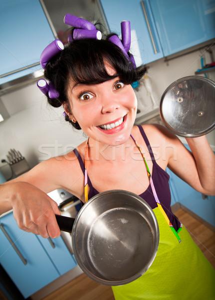 őrült háziasszony belső konyha nők női Stock fotó © cookelma